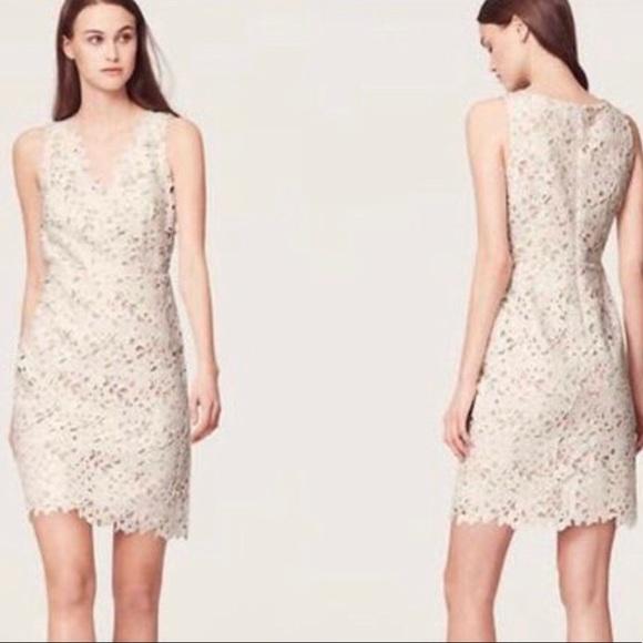 LOFT Dresses & Skirts - Loft   White Floral Lace Sheath Dress